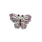 Rhodium Plated Amethyst Butterfly Brooch