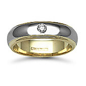 Jewelco London 9ct Yellow & White Gold 6mm 2-Piece D-Shape Diamond set 10pts Solitaire Wedding / Commitment Ring