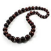Animal Print Wooden Bead Necklace (Brown & Black) - 64cm Length