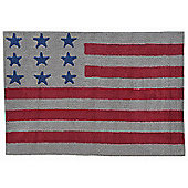 Lorena Canals Flag American Linen and Red Children's Rug - 120 cm W x 160 cm D (3 ft 11 in x 5 ft 3 in)