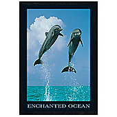 Enchanted Ocean Black Wooden Framed Dolphins Jumping Poster