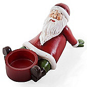 Cheerful Sitting Father Christmas Tealight Candle Holder