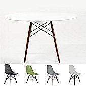 DSW White 70cm Walnut Legs - 4 DSW Walnut Chairs - Ask for chair colour