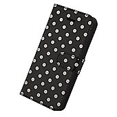 Tortoise™ Slimline Folio Case, iPhone 5/5S, Polka Dot design, Black/White spots.