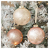 Pink and Gold Pearl Christmas Baubles, 3 pack