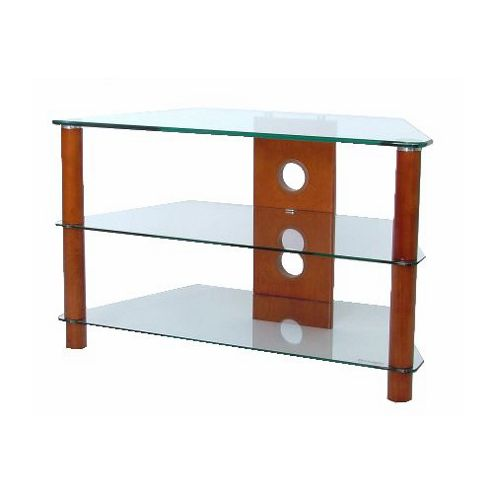 Corner TV Stand with Clear Glass and Medium Wood Legs