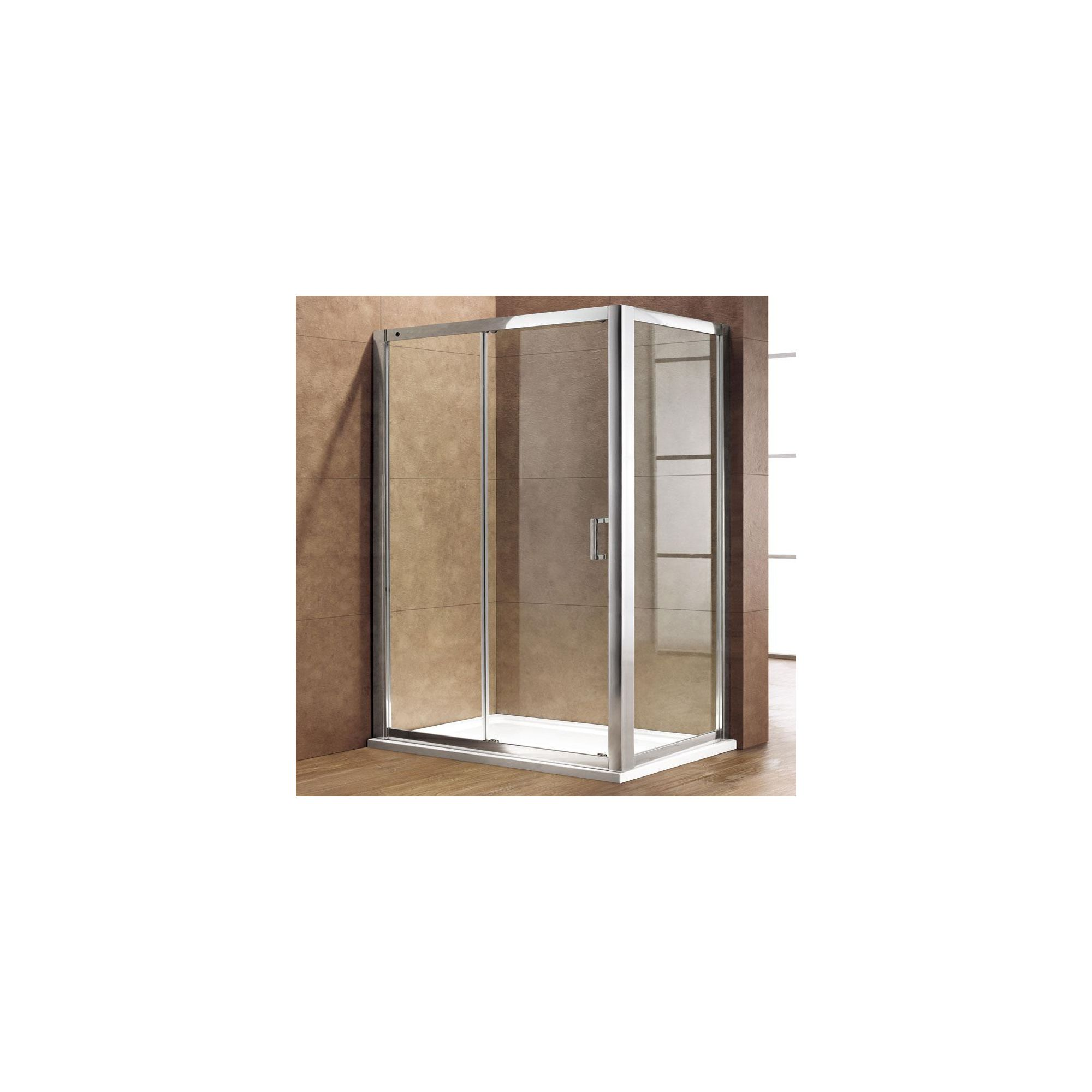 Duchy Premium Single Sliding Door Shower Enclosure, 1100mm x 760mm, 8mm Glass, Low Profile Tray at Tesco Direct