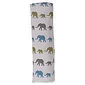 Pigeon Organics Cotton Muslin Swaddle (Blue Elephant)
