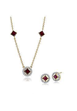 Gemondo 9ct Yellow Gold Ruby & Diamond Stud Earring & 45cm Necklace Set