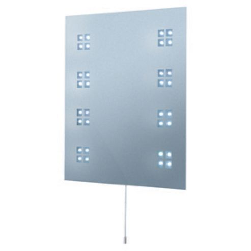 Searchlight illuminated LED rectangular bathroom mirror