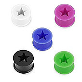 Pack of Five Flexible Silicone Ear Stretching Flared Flesh Tunnels 6mm