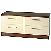 Welcome Furniture Knightsbridge 4 Drawer Chest - Walnut - Cream