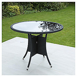 Mila Black Woven Rattan & Glass Top Table