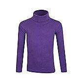 Meribel Kids Cotton Roll Neck Top - Purple