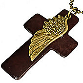 Urban Male Brown Leather Cross & Stainless Steel Feather Necklace With Chain