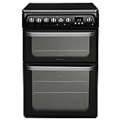 Hotpoint HUE62KS, 60cm, Black, Electric Cooker, Double Oven
