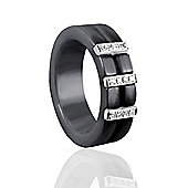 Jewelco London Sterling Silver CZ Black Ceramic Eternity Buckle Style Fashion Ring Size