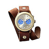 Triwa Unisex Chronograph Brown Leather Strap Watch DCAC103