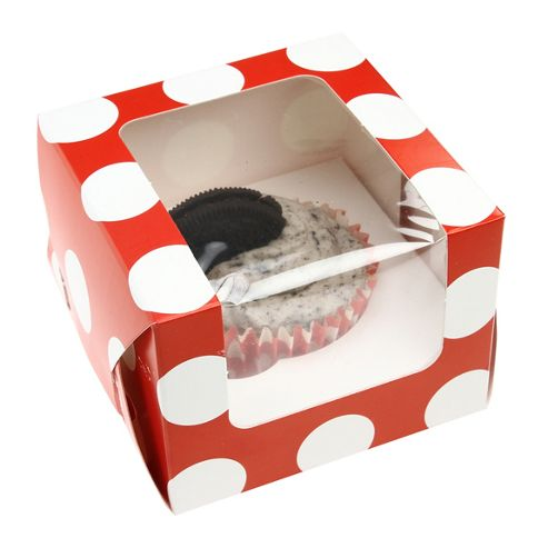 Cupcake Box - Red Polka Dot - Single