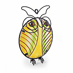 Metal Owl Wall Art with Stained Glass Centre - Design A