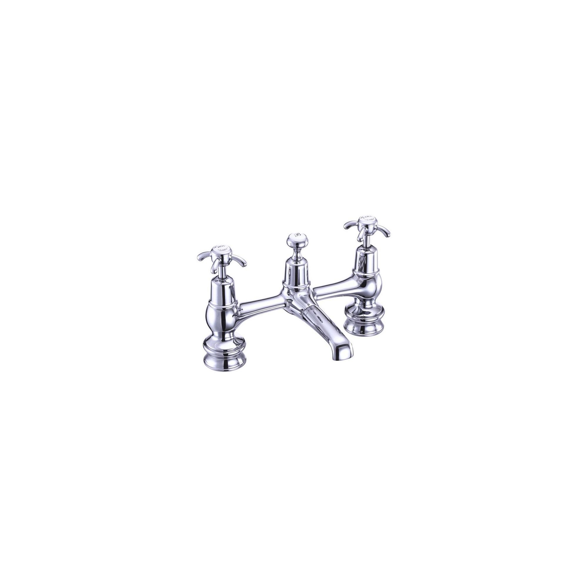 Burlington Anglesey Regent 2 Hole Bridge Basin Mixer Tap, Dual Handle, Chrome at Tesco Direct