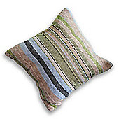 Homescapes Large Green & Brown Candy Stripe Chenille Cushion, 60 x 60 cm