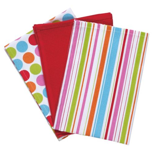 Brights 50s 3 pack tea towels, multi-colours