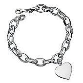 Sterling Silver Chunky Heart Charm Bracelet