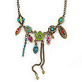 Vintage Inspired Multicoloured Crystal, Enamel Floral Necklace In Burn Gold Tone - 38cm Length/ 5cm Extension