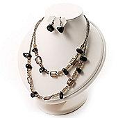 2 Strand Glass&Semiprecious Nugget Necklace&Earring Set (Black&Grey)
