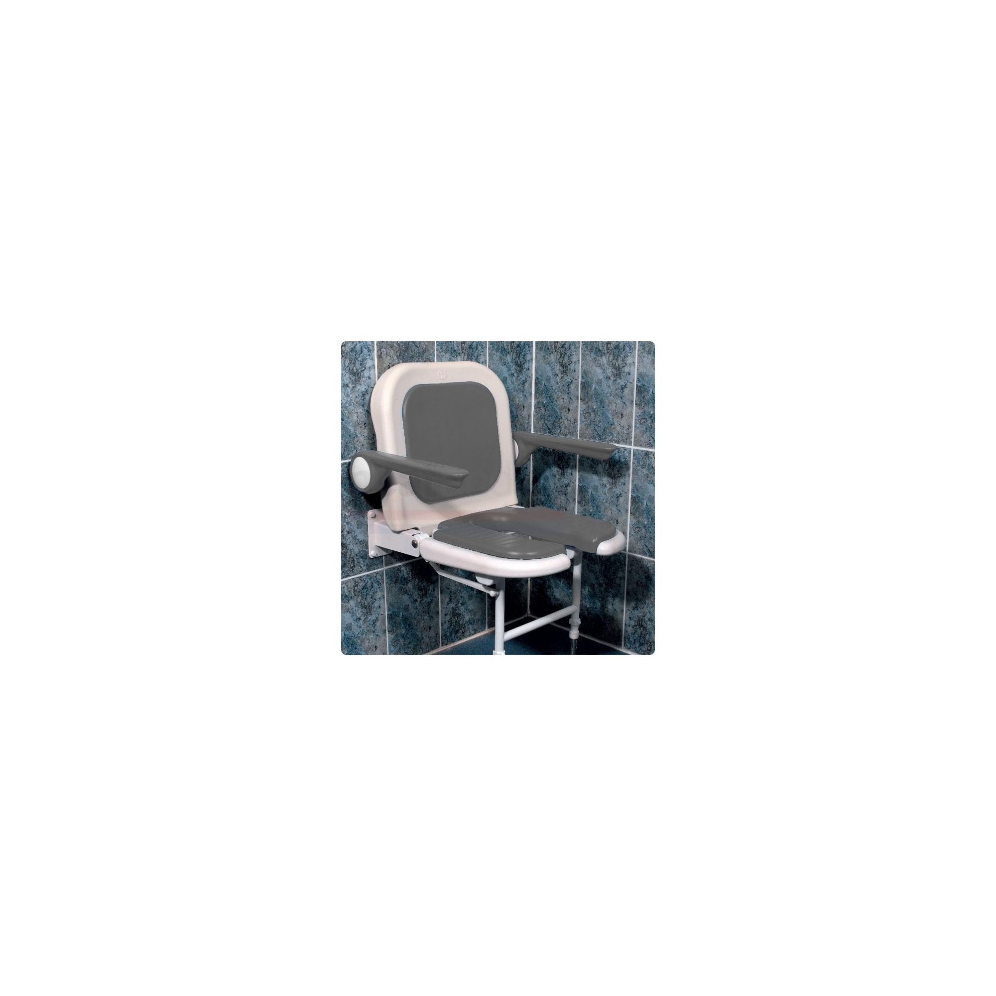 AKW 4000 Series Standard Fold Up Horseshoe Shower Seat Grey with Back and Grey Arms at Tesco Direct