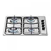 MHG100SS 600mm 4 Burner Gas Hob with Enamel Pan Supports in Stainless Steel