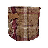 McAlister Small Fabric Storage Basket - Mulberry Wool Look Tartan Check