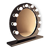 High Gloss Black Round Hollywood Makeup Mirror with Dimmable lamps k247
