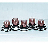 Wiggles - Metal Tea Light / Candle Holder - Black / Brown