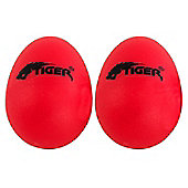 Tiger Pair of Plastic Percussion Egg Shakers