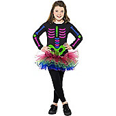 Child Neon Skeleton Tutu Dress Large