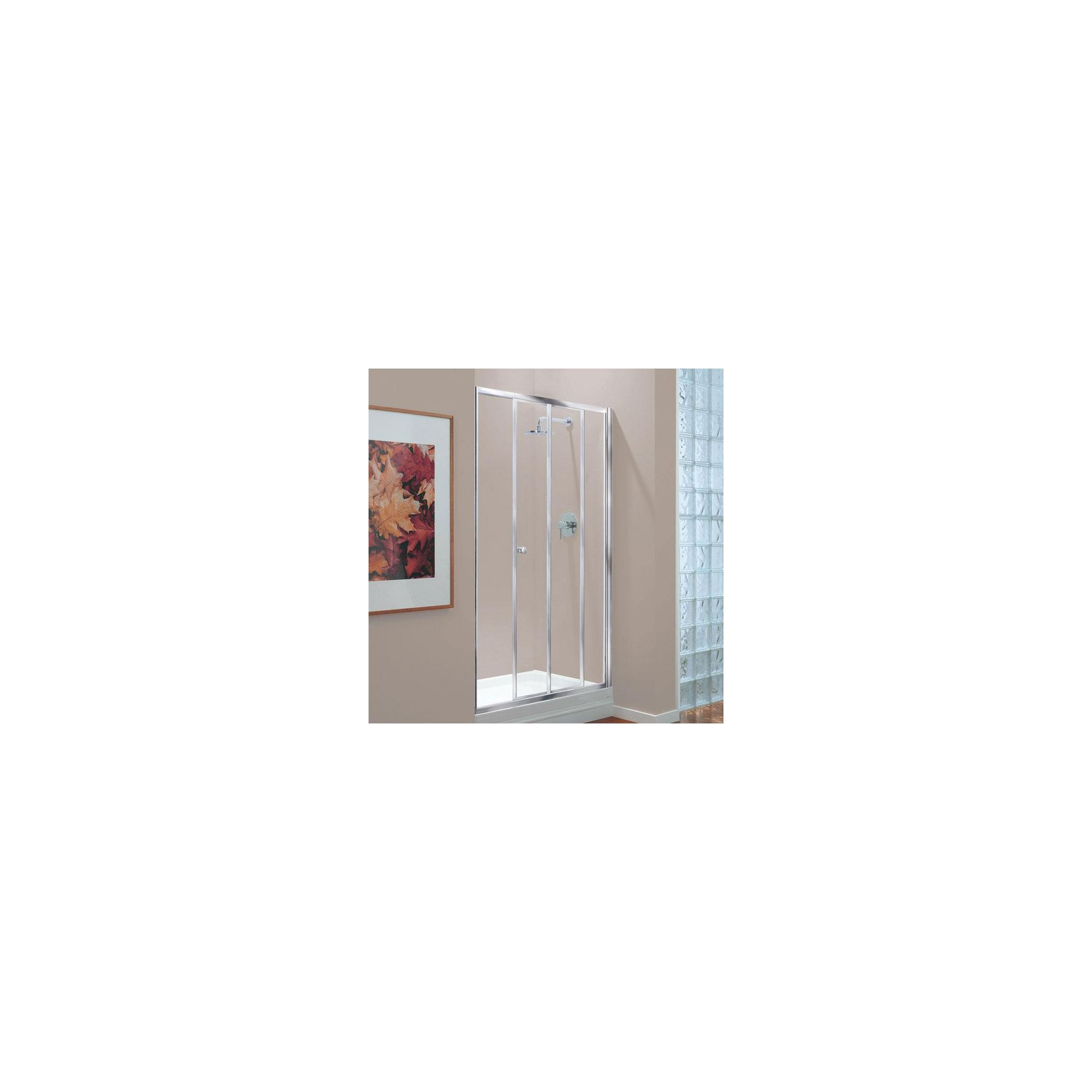 Coram GB Sliding Door Shower Enclosure, 1200mm x 760mm, Standard Tray, 4mm Glass, Chrome Frame at Tescos Direct