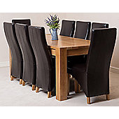 Kuba Chunky Solid Oak 180 cm Dining Table with 8 Brown Lola Leather Chairs