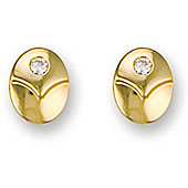 Jewelco London 9ct Yellow Gold CZ set Oval shaped Studs