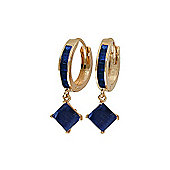 QP Jewellers 1.30ct Sapphire Princess Hoop Huggie Earrings in 14K Rose Gold