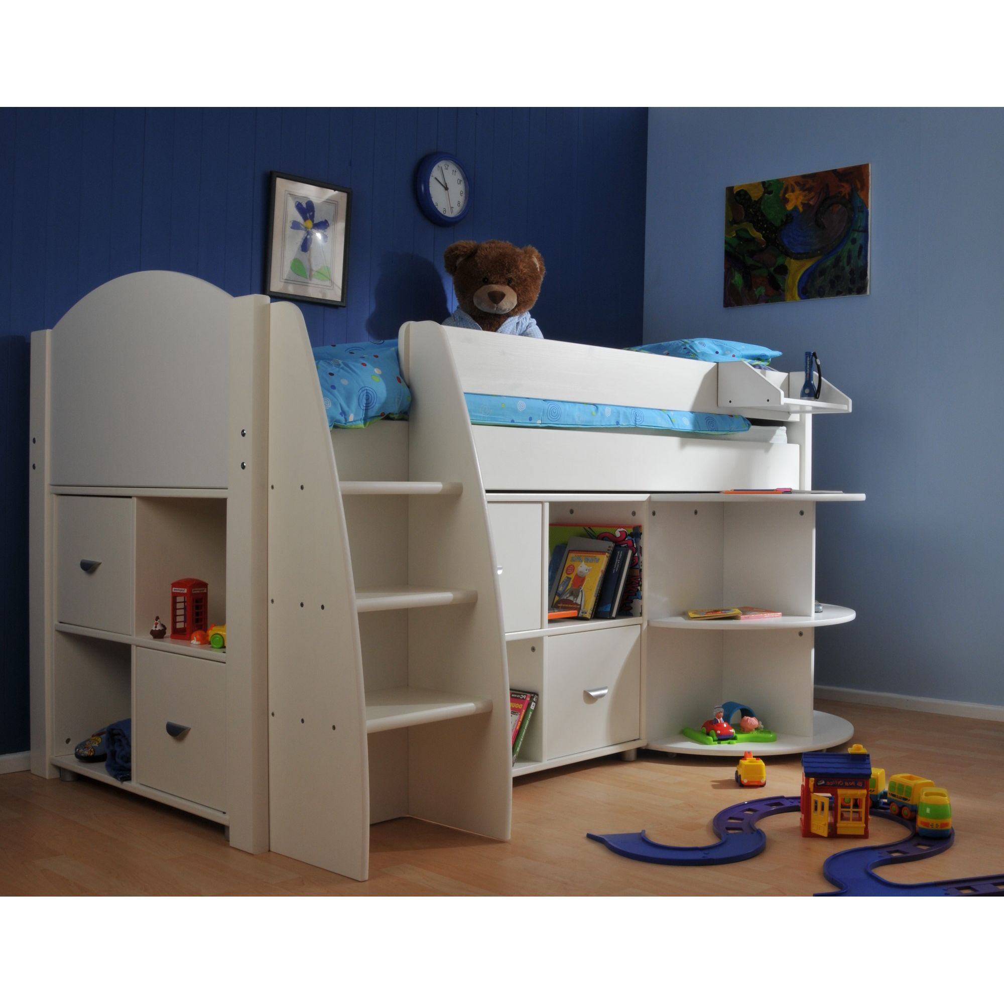 Stompa Rondo Mid Sleeper Bed with 8 Cube Unit and Extending Desk - Blue - White at Tesco Direct