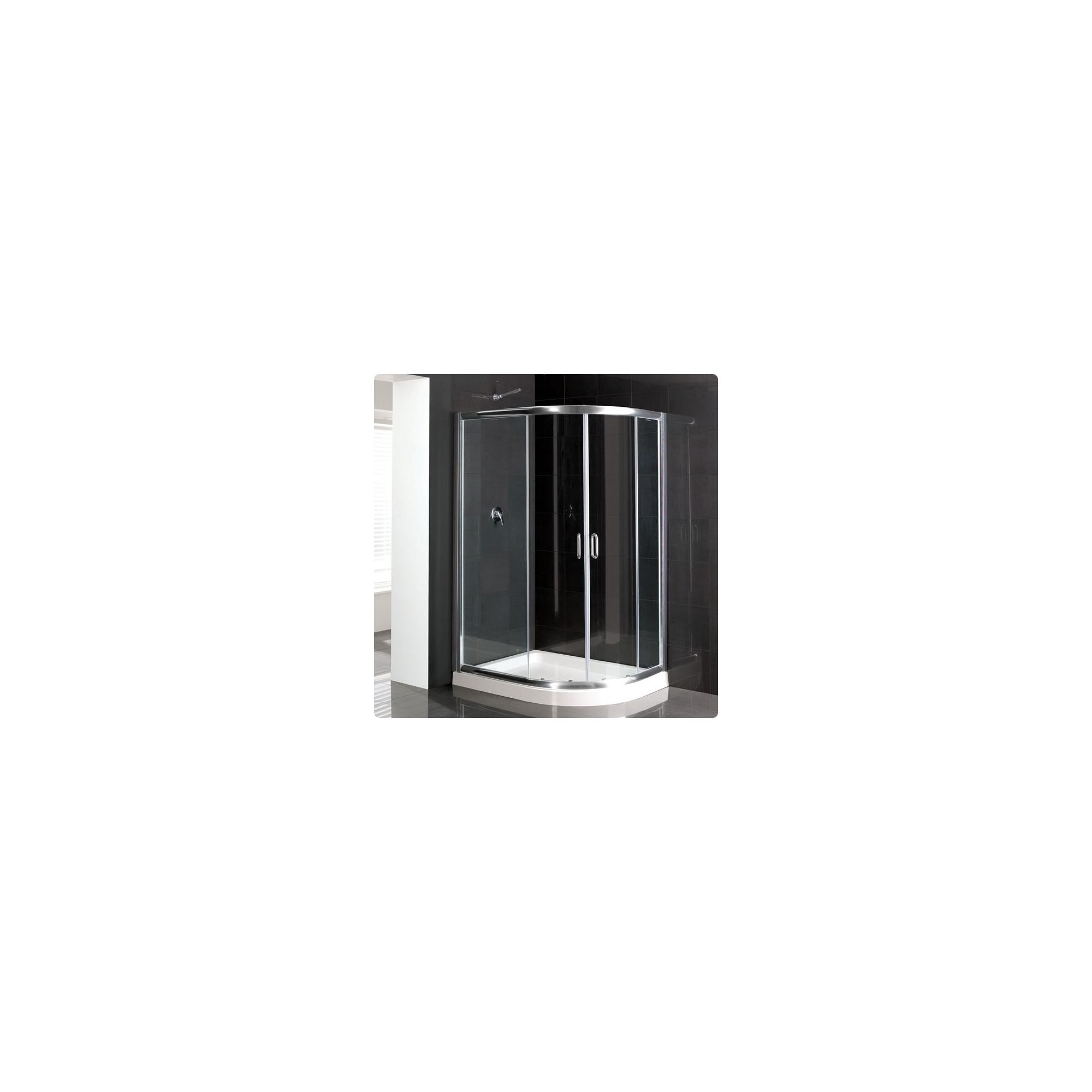 Duchy Elite Silver Offset Quadrant Shower Enclosure (Complete with Tray) 900mm x 800mm, 6mm Glass at Tesco Direct