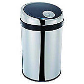 50L Mirror Finish Push Top Bin with Black PP Lid Stainless Steel
