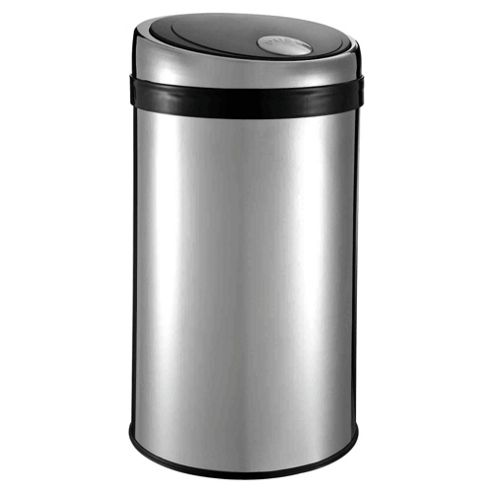 Tesco 50L Stainless Steel Push Top Open Bin With Black Lid
