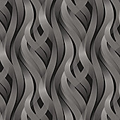 Muriva Ribbons Wallpaper - Charcoal