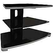 Slick - Glass And Metal 3 Tier Corner Tv Stand / Entertainment Unit - Black