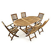 Burley 6 Seater Extending Oval Teak Set - Outdoor/Garden table and Chair set.