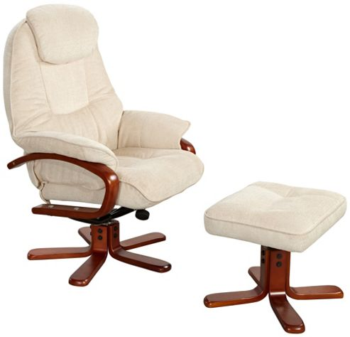 GFA Hong Kong Swivel Recliner and Footstool - Beige