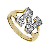 Jewelco London 9ct Gold Ladies' Identity ID Initial CZ Ring, Letter N - Size J